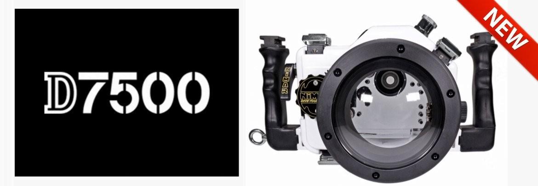 Underwater camera housing for Nikon D7500